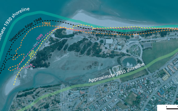 Graphic showing changing shoreline at Tahunanui
