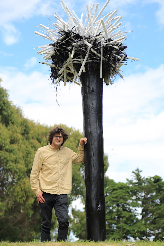 David Carson with his award-winning sculpture 'Root Ball'