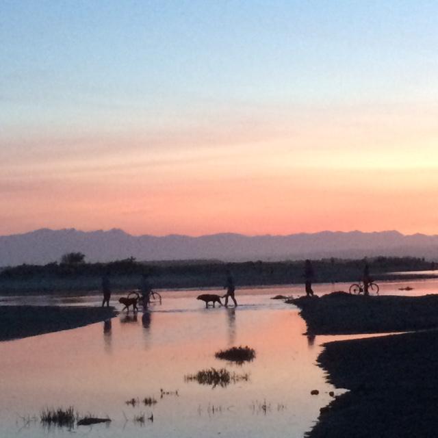 Wading across the back beach estuary at sunset