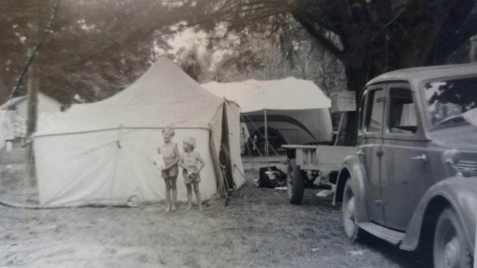 Francie Osborn camping at Tahuna Beach in 1955