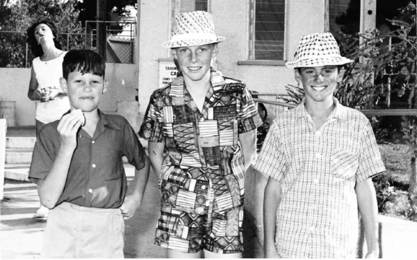 Steve Cassidy, Larry Brown and Brent Norrie outside the camp shop in 1963