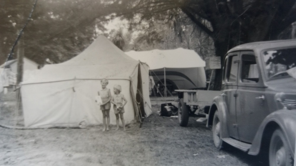 The Hortin family campsite in 1955