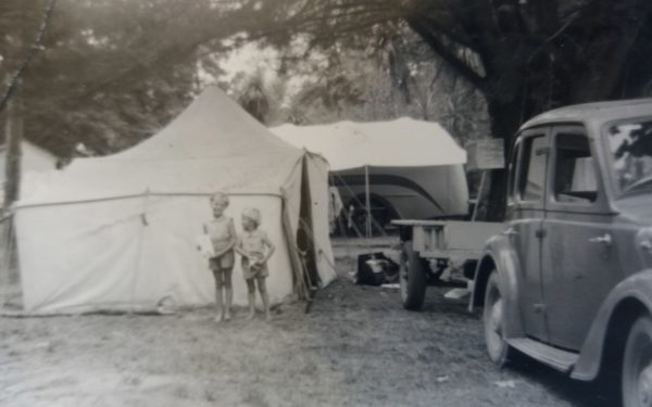Francie Osborn camping at Tahuna Beach in 1955